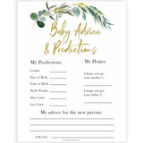 Eucalyptus baby shower games, baby advice and predictions baby game, fun baby shower games, printable baby games, baby shower ideas, baby games, baby shower baby shower bundle, baby shower games packs, botanical baby shower