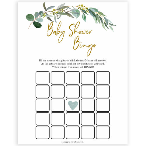 Eucalyptus baby shower games, baby shower bingo baby game, fun baby shower games, printable baby games, baby shower ideas, baby games, baby shower baby shower bundle, baby shower games packs, botanical baby shower