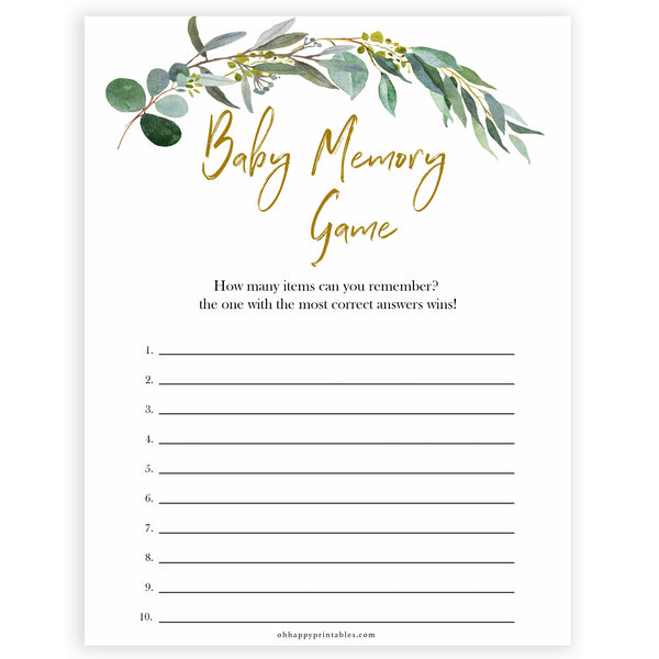 Eucalyptus baby shower games, baby memory game baby game, fun baby shower games, printable baby games, baby shower ideas, baby games, baby shower baby shower bundle, baby shower games packs, botanical baby shower