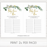 Eucalyptus baby shower games, baby name race baby game, fun baby shower games, printable baby games, baby shower ideas, baby games, baby shower baby shower bundle, baby shower games packs, botanical baby shower