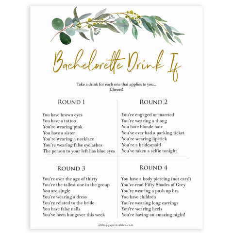 Floral bachelorette games, bachelorette drink if game, top hen party games, fun bridal games, hen party games, printable bridal games, bridal shower ideas, eucalyptus bridal ideas, bachelorette ideas