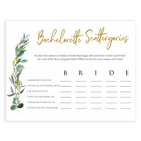 Floral bachelorette games, bachelorette scatergories game, top hen party games, fun bridal games, hen party games, printable bridal games, bridal shower ideas, eucalyptus bridal ideas, bachelorette ideas