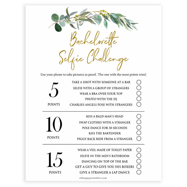 Floral bachelorette games, selfie challenge game, top hen party games, fun bridal games, hen party games, printable bridal games, bridal shower ideas, eucalyptus bridal ideas, bachelorette ideas