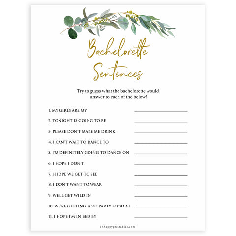 Floral bachelorette games, bachelorette sentences game, top hen party games, fun bridal games, hen party games, printable bridal games, bridal shower ideas, eucalyptus bridal ideas, bachelorette ideas