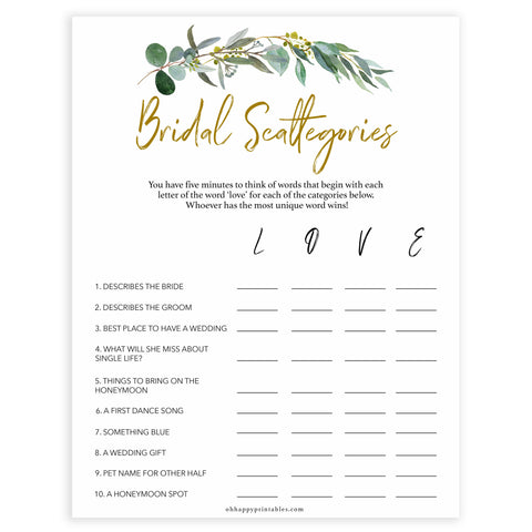 Floral bridal games, bridal scattergories game, top bridal shower games, fun bridal games, hen party games, printable bridal games, bridal shower ideas, eucalyptus bridal ideas