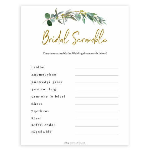 Floral bridal games, bridal sword scramble game, top bridal shower games, fun bridal games, hen party games, printable bridal games, bridal shower ideas, eucalyptus bridal ideas