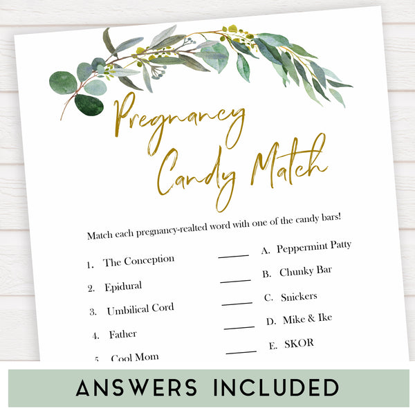 Eucalyptus baby shower games, pregnancy candy match game baby game, fun baby shower games, printable baby games, baby shower ideas, baby games, baby shower baby shower bundle, baby shower games packs, botanical baby shower