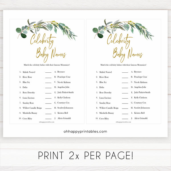 Eucalyptus baby shower games, celebrity baby names baby game, fun baby shower games, printable baby games, baby shower ideas, baby games, baby shower baby shower bundle, baby shower games packs, botanical baby shower