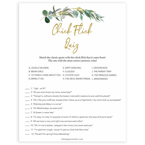 Floral bachelorette games, chick flick quiz game, top hen party games, fun bridal games, hen party games, printable bridal games, bridal shower ideas, eucalyptus bridal ideas, bachelorette ideas