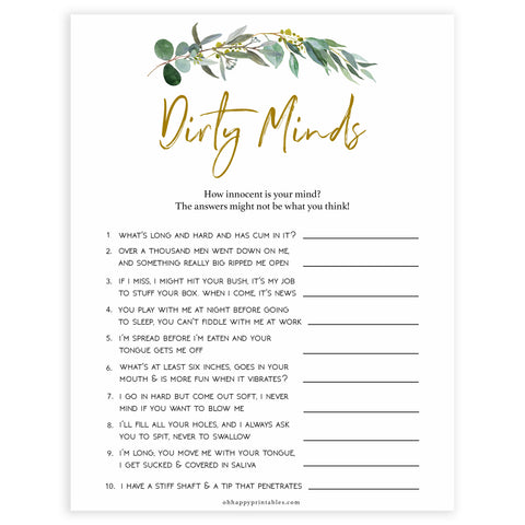 Floral bachelorette games, dirty minds game, top hen party games, fun bridal games, hen party games, printable bridal games, bridal shower ideas, eucalyptus bridal ideas, bachelorette ideas