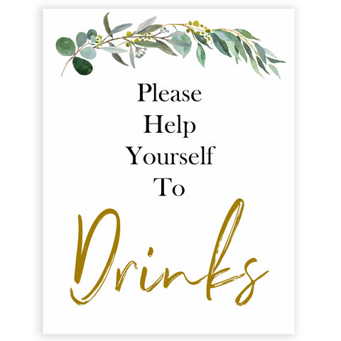 eucalyptus baby signs, drinks baby signs, printable baby signs, botanical baby signs, baby shower decor, fun baby signs