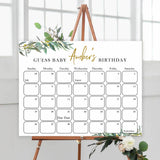 guess the baby birthday game, baby birthday predictions game, printable baby games, fun baby shower games, floral baby games