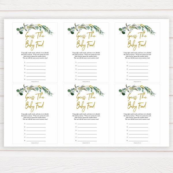 Eucalyptus baby shower games, guess the baby food baby game, fun baby shower games, printable baby games, baby shower ideas, baby games, baby shower baby shower bundle, baby shower games packs, botanical baby shower