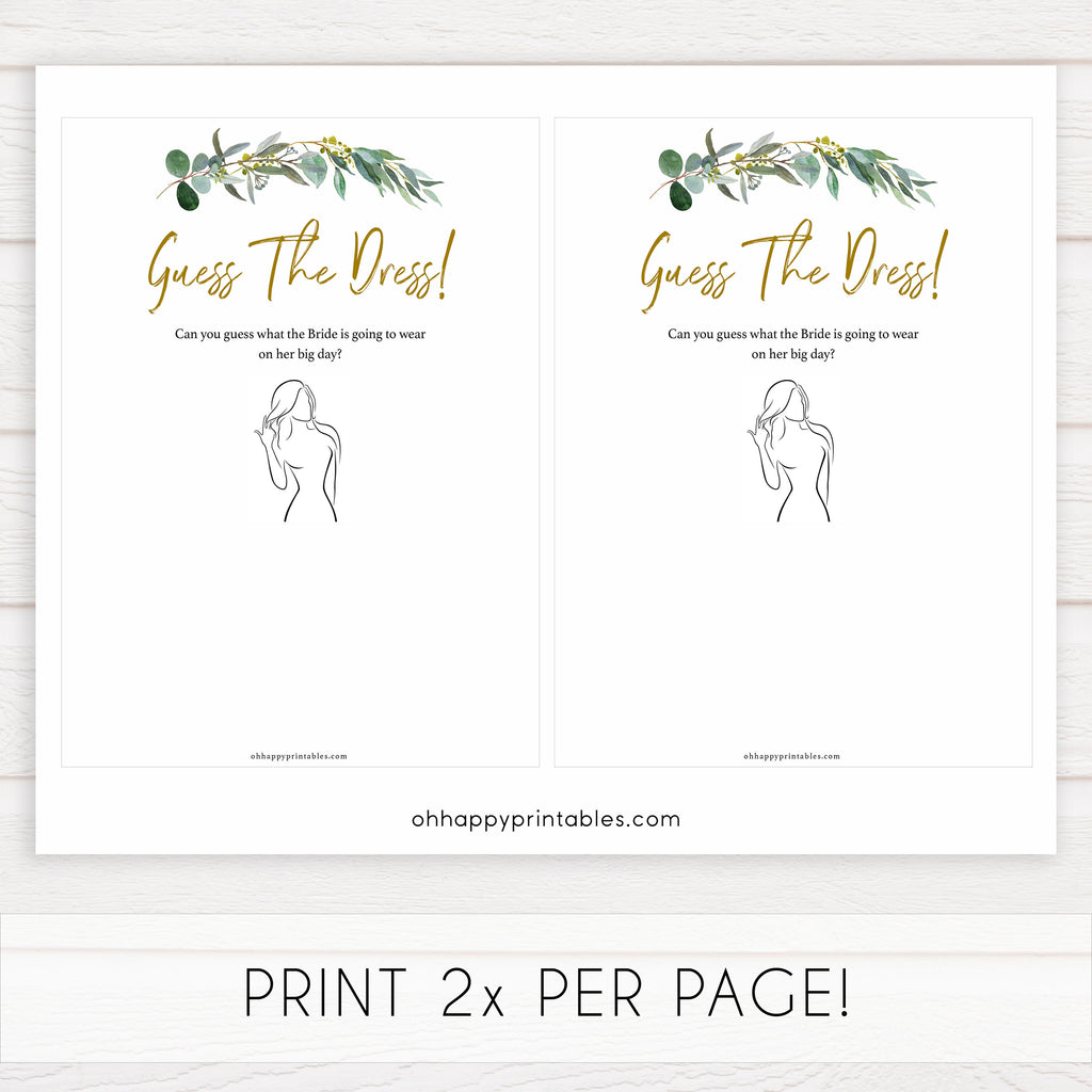 Rose Gold Guess The Dress Game Shop Printable Bridal Shower Games Ohhappyprintables