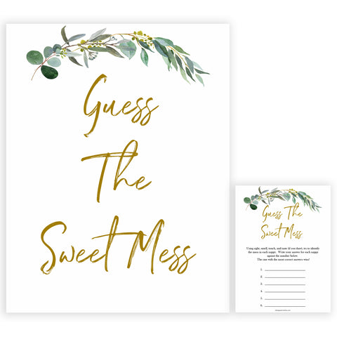 Eucalyptus baby shower games, Guess The Sweet Mess baby game, fun baby shower games, printable baby games, baby shower ideas, baby games, baby shower baby shower bundle, baby shower games packs, botanical baby shower