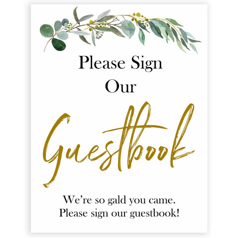 eucalyptus baby signs, guestbook baby signs, printable baby signs, botanical baby signs, baby shower decor, fun baby signs