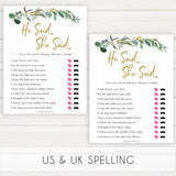 Eucalyptus baby shower games, he said she said baby game, fun baby shower games, printable baby games, baby shower ideas, baby games, baby shower baby shower bundle, baby shower games packs, botanical baby shower