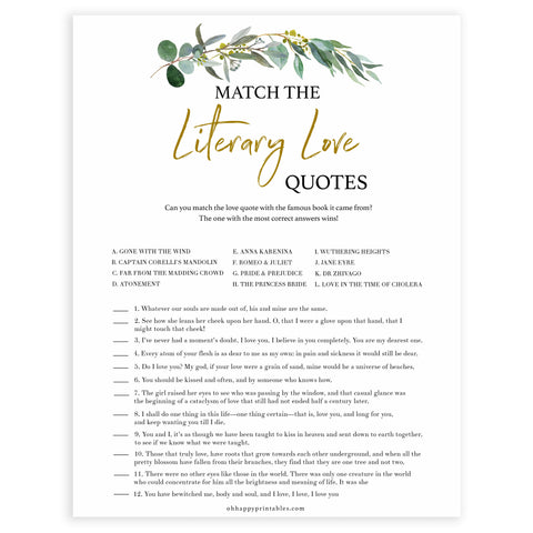 Floral bridal games, literary love quotes game, top bridal shower games, fun bridal games, hen party games, printable bridal games, bridal shower ideas, eucalyptus bridal ideas