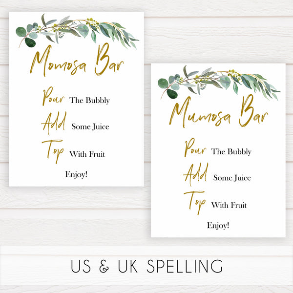 eucalyptus baby signs, momosa bar baby signs, printable baby signs, botanical baby signs, baby shower decor, fun baby signs