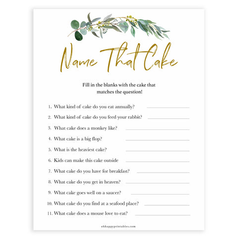 Floral bridal games, name that cake game, top bridal shower games, fun bridal games, hen party games, printable bridal games, bridal shower ideas, eucalyptus bridal ideas