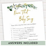 Eucalyptus baby shower games, name that baby song game baby game, fun baby shower games, printable baby games, baby shower ideas, baby games, baby shower baby shower bundle, baby shower games packs, botanical baby shower