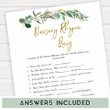 Eucalyptus baby shower games, nursery rhyme quiz baby game, fun baby shower games, printable baby games, baby shower ideas, baby games, baby shower baby shower bundle, baby shower games packs, botanical baby shower