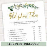 Eucalyptus baby shower games, old wives tales baby game, fun baby shower games, printable baby games, baby shower ideas, baby games, baby shower baby shower bundle, baby shower games packs, botanical baby shower