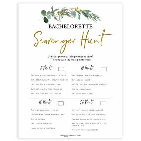 Floral bachelorette games, scavenger hunt game, top hen party games, fun bridal games, hen party games, printable bridal games, bridal shower ideas, eucalyptus bridal ideas, bachelorette ideas