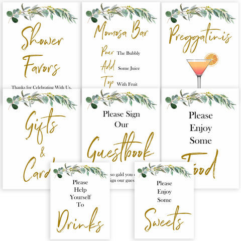 eucalyptus baby shower signs, printable baby signs pack, botanical baby signs, food signs, drinks signs, baby shower decor