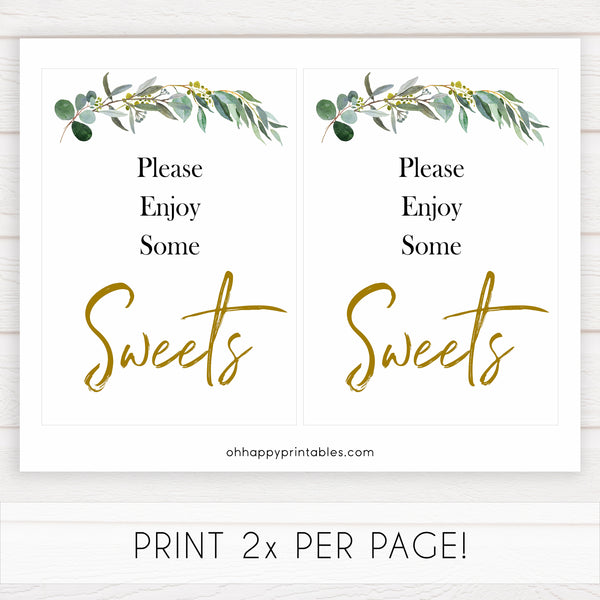 eucalyptus baby signs, sweets baby signs, printable baby signs, botanical baby signs, baby shower decor, fun baby signs