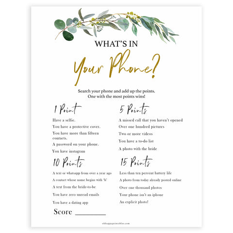 Floral bridal games, whats on your phone game, top bridal shower games, fun bridal games, hen party games, printable bridal games, bridal shower ideas, eucalyptus bridal ideas