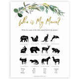 Eucalyptus baby shower games, who is my mama game baby game, fun baby shower games, printable baby games, baby shower ideas, baby games, baby shower baby shower bundle, baby shower games packs, botanical baby shower