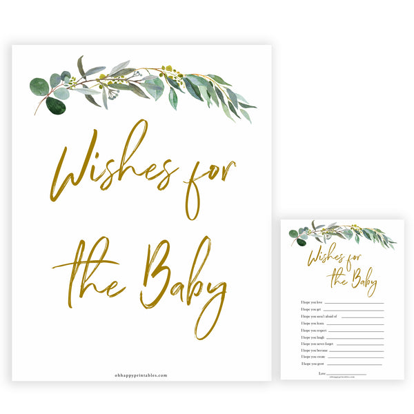 Eucalyptus baby shower games, wishes for the baby game baby game, fun baby shower games, printable baby games, baby shower ideas, baby games, baby shower baby shower bundle, baby shower games packs, botanical baby shower