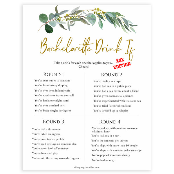 Floral bachelorette games, dirty drink if game, top hen party games, fun bridal games, hen party games, printable bridal games, bridal shower ideas, eucalyptus bridal ideas, bachelorette ideas