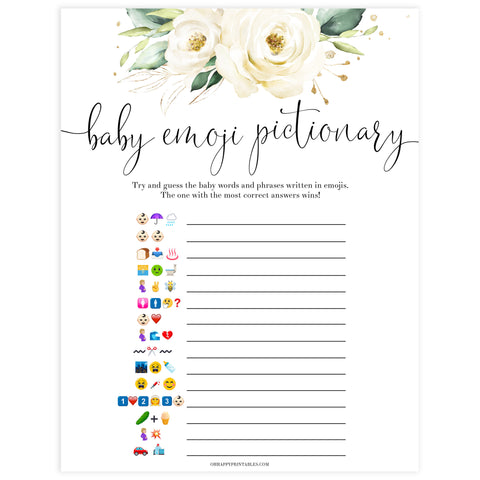 baby shower emoji pictionary game, Printable baby shower games, shite floral baby games, baby shower games, fun baby shower ideas, top baby shower ideas, floral baby shower, baby shower games, fun floral baby shower ideas