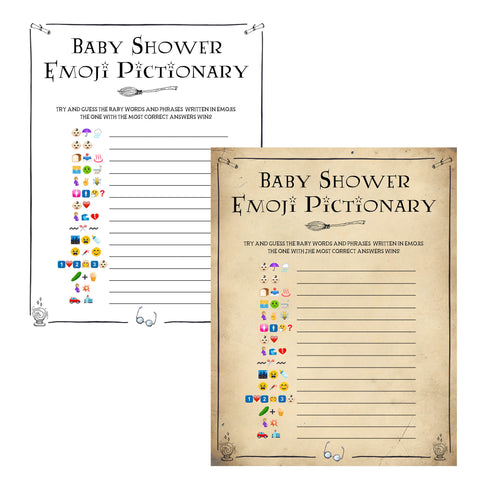 baby shower emoji pictionary, Wizard baby shower games, printable baby shower games, Harry Potter baby games, Harry Potter baby shower, fun baby shower games,  fun baby ideas
