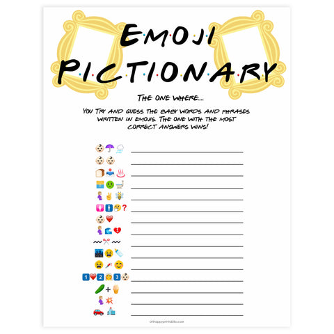 baby emoji pictionary game, Printable baby shower games, friends fun baby games, baby shower games, fun baby shower ideas, top baby shower ideas, friends baby shower, friends baby shower ideas