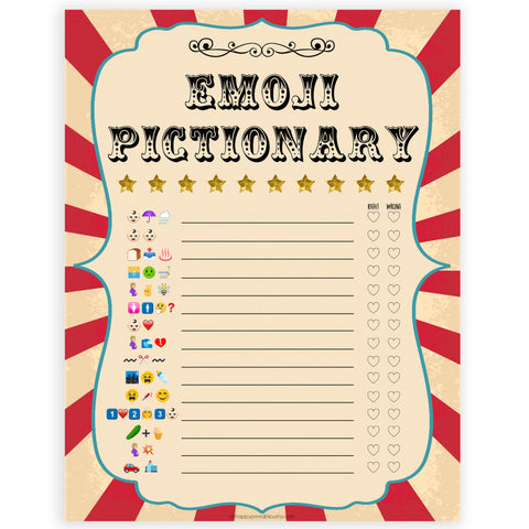 Circus baby emoji pictionary baby shower games, circus baby games, carnival baby games, printable baby games, fun baby games, popular baby games, carnival baby shower, carnival theme