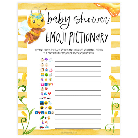 baby shower emoji pictionary game, emoji pictionary, Printable baby shower games, mommy bee fun baby games, baby shower games, fun baby shower ideas, top baby shower ideas, mommy to bee baby shower, friends baby shower ideas
