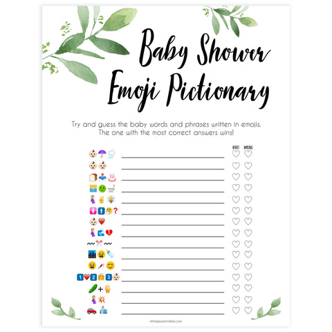 Botanical Emoji Pictionary Baby Shower Games, Emoji Baby Shower Games, Botanical Emoji Pictionary, Green Baby Shower Emoji Game, Emoji , best baby shower games, funny baby games, printable baby shower games
