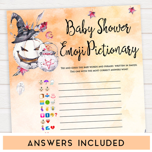 Halloween pumpkin baby games, baby shower emoji pictionary baby games, printable baby games, best baby games, top baby games halloween baby shower, halloween baby ideas, best baby games