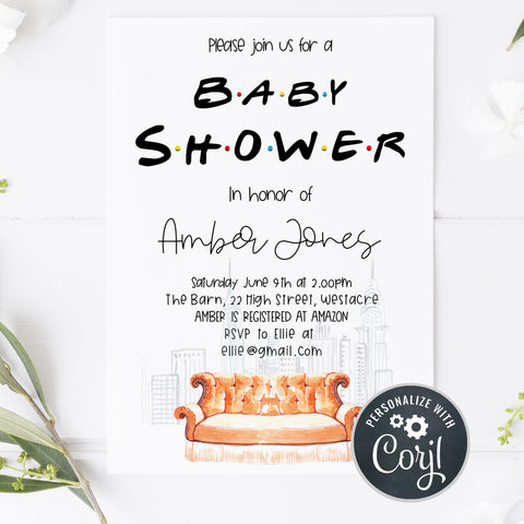 friends baby shower invitation, baby shower invitations, editable baby shower invite, friends baby shower theme, friends