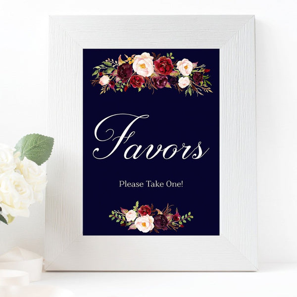 Favors Marsala Dark Blue Wedding sign printable