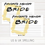 favorite memory with the bride game, Printable bridal shower games, friends bridal shower, friends bridal shower games, fun bridal shower games, bridal shower game ideas, friends bridal shower