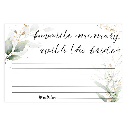 favorite memory with the bride, memory of the bride,  Printable bridal shower games, greenery bridal shower, gold leaf bridal shower games, fun bridal shower games, bridal shower game ideas, greenery bridal shower