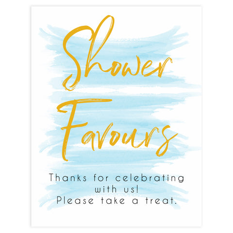blue baby shower decor, printable baby signs, baby favours sign, baby favor signs, fun baby shower ideas