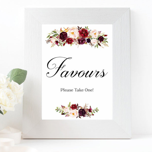 Favours burgundy marsala wedding sign printable
