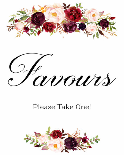Favors burgundy marsala wedding sign printable