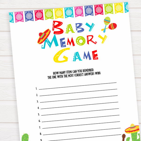 baby memory game, Printable baby shower games, Mexican fiesta fun baby games, baby shower games, fun baby shower ideas, top baby shower ideas, fiesta shower baby shower, fiesta baby shower ideas