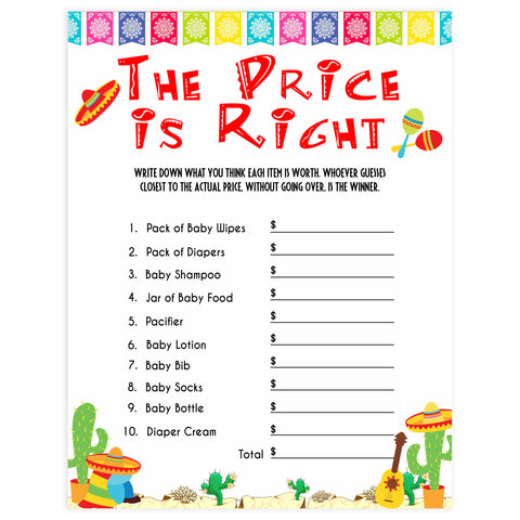 the price is right baby game, Printable baby shower games, Mexican fiesta fun baby games, baby shower games, fun baby shower ideas, top baby shower ideas, fiesta shower baby shower, fiesta baby shower ideas